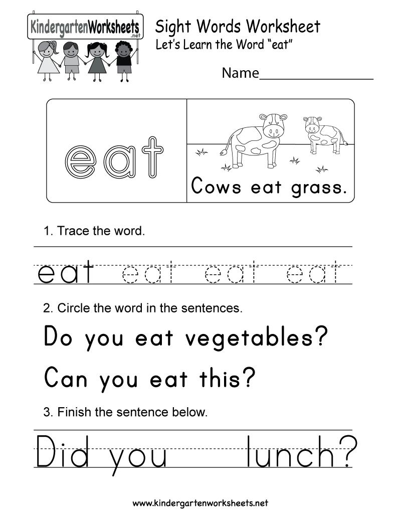 Free Printable Sight Word (Eat) Worksheet For Kindergarten - Free Printable Sight Word Worksheets