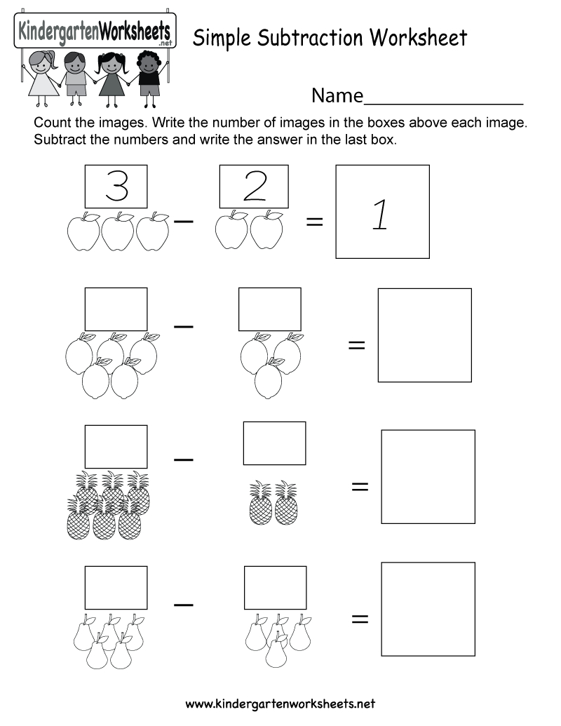 Free Printable Simple Subtraction Worksheet For Kindergarten - Free Printable Subtraction Worksheets