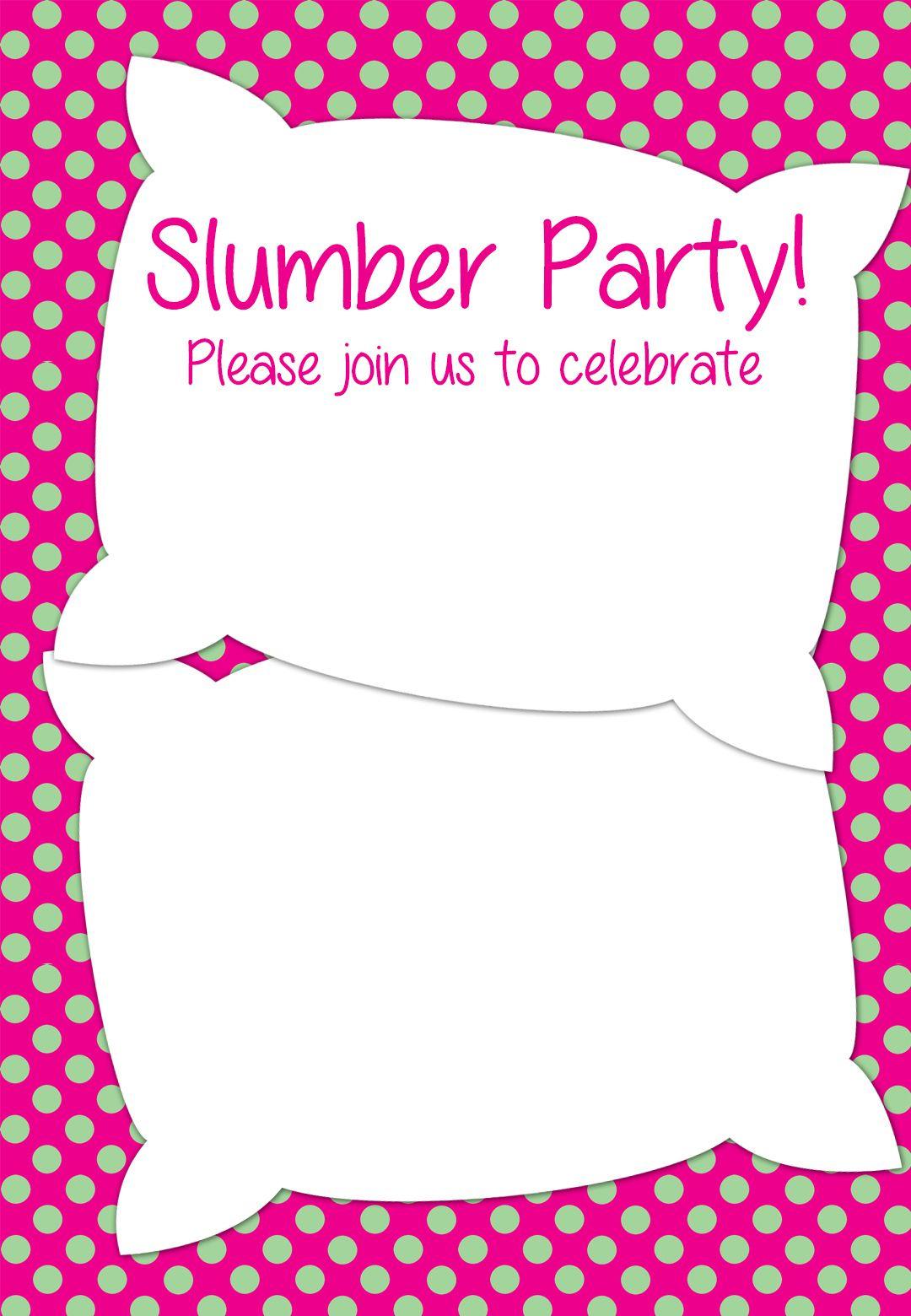 Free Printable Slumber Party Invitation | Party Ideas In 2019 - Free Printable Polka Dot Birthday Party Invitations