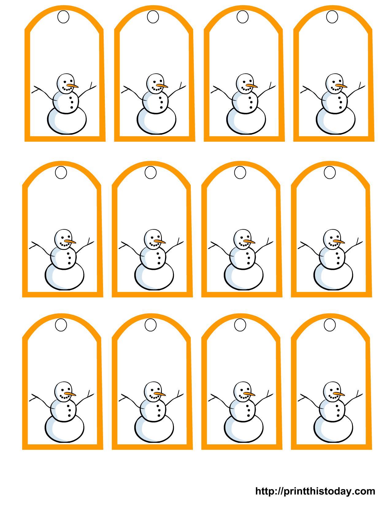 Free Printable Snowman Christmas Gift Tags - Free Printable Gift Tags