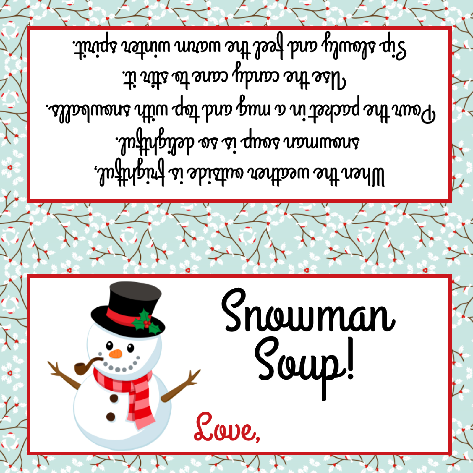 Free Printable Snowman Soup Bag Toppers - 15.12.kaartenstemp.nl • - Snowman Soup Free Printable