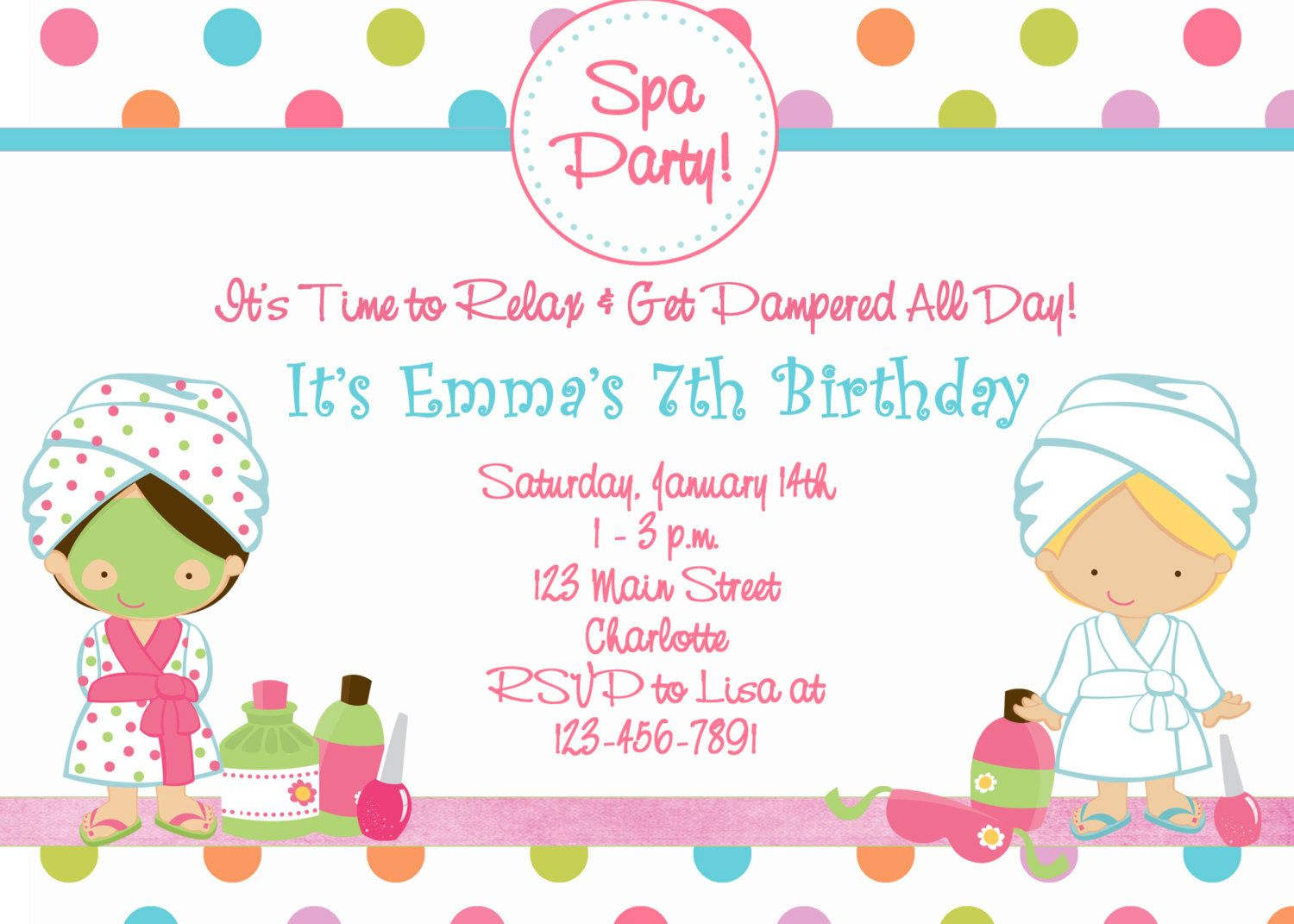 Free Printable Spa Birthday Party Invitations | Spa At Home - Free Printable Event Invitations