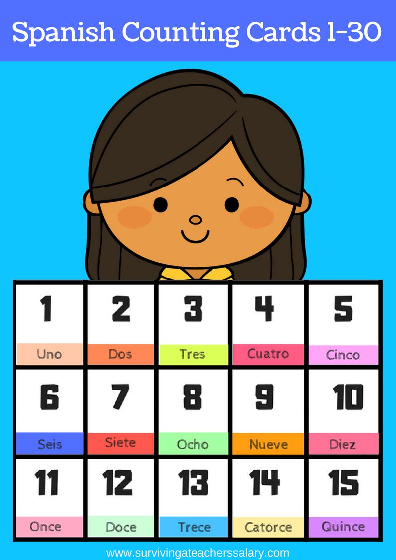 Free Printable Spanish Flashcards Numbers 1-30 - Free Printable Number Flashcards 1 30