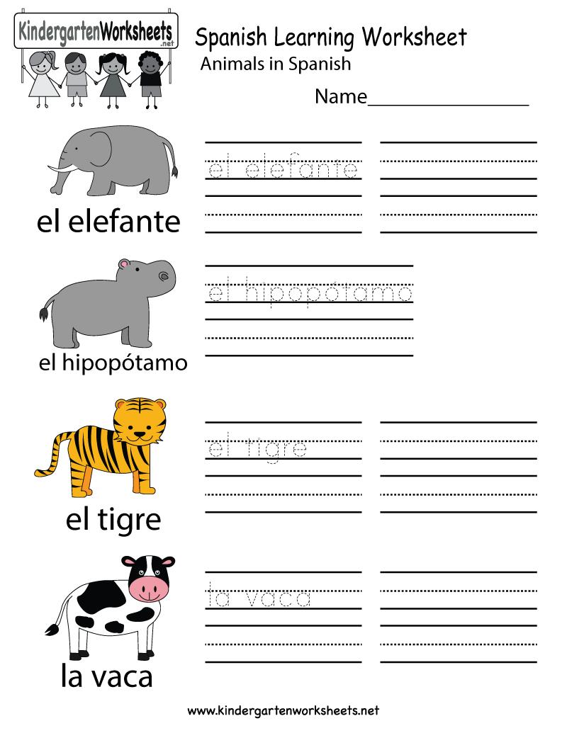 Free Printable Spanish Learning Worksheet For Kindergarten - Free Printable Spanish Worksheets