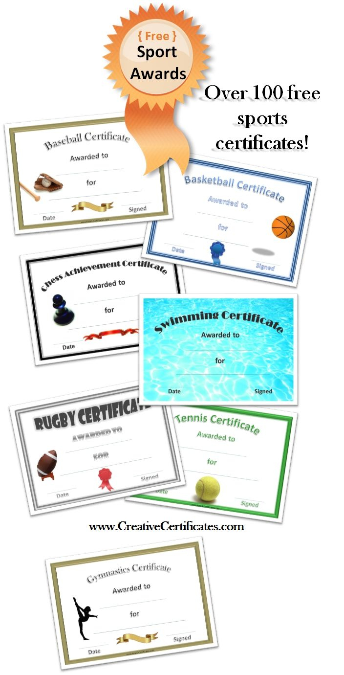 Free Printable Sport Certificates - Over 100 Available - All Free - Free Printable Softball Certificates