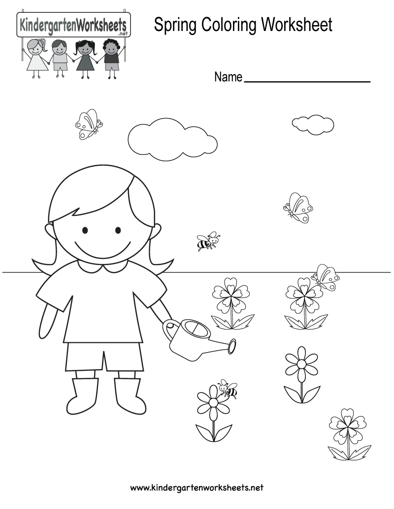 Free Printable Spring Coloring Worksheet For Kindergarten - Free Printable Spring Worksheets For Kindergarten