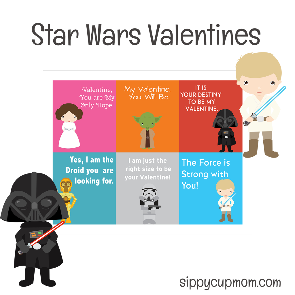 Free Printable Star Wars Valentine's Day Cards - Sippy Cup Mom - Star Wars Printable Cards Free