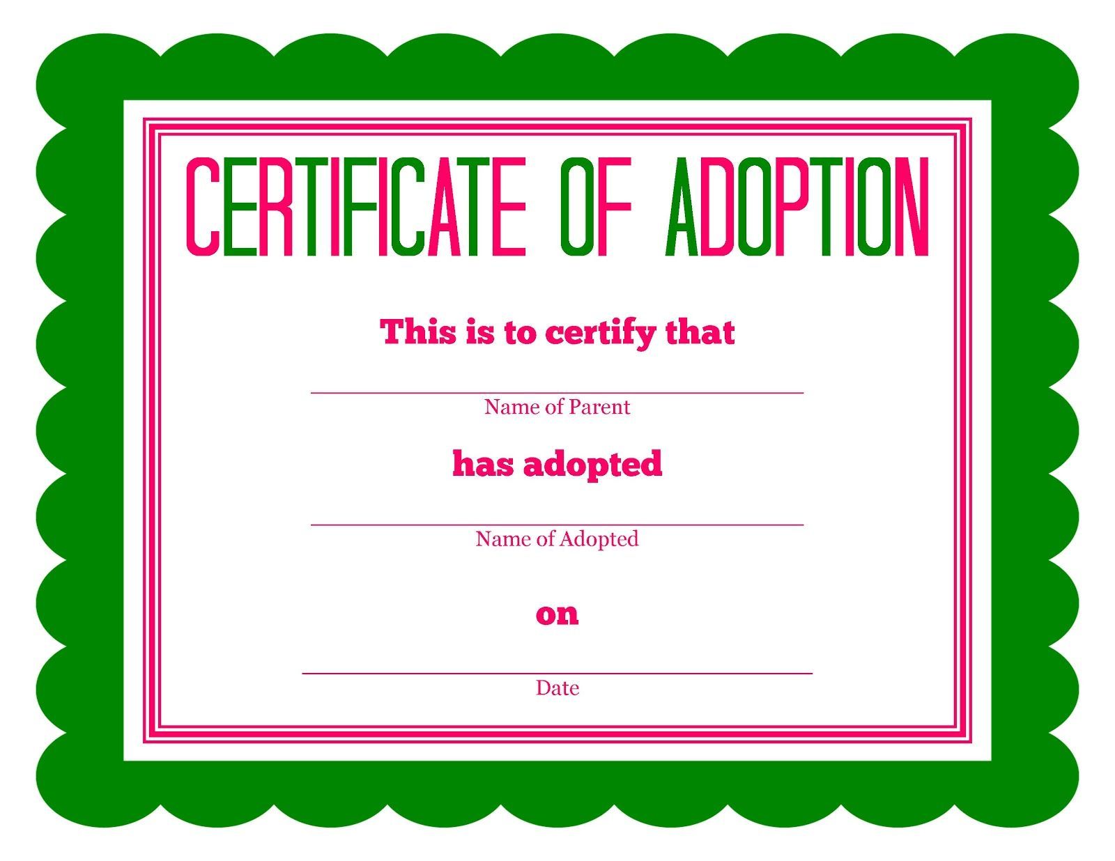 Free Printable Stuffed Animal Adoption Certificate | Free Printables - Free Printable Adoption Certificate