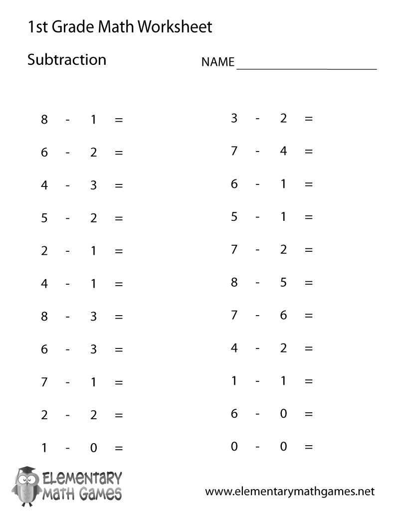 Free Printable Subtraction Worksheet For First Grade - Free Printable First Grade Math Worksheets