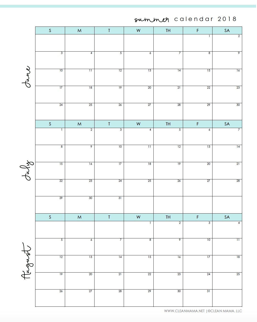 Free Printable : Summer 2018 Calendar - Clean Mama - Free Printable Schedule