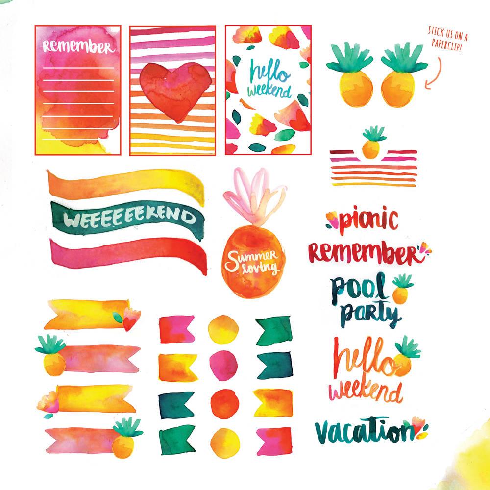 Free Printable: Summer Watercolor Planner Stickers | Blitsy - Free Printable Summer Pictures