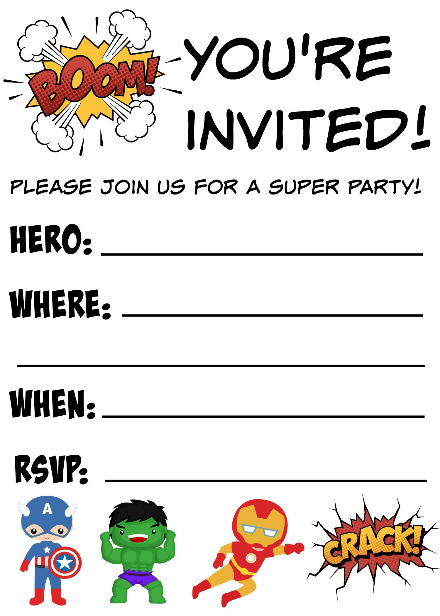 Free Printable Superhero Birthday Invitations | Birthdays - Printable Invitations Free No Download