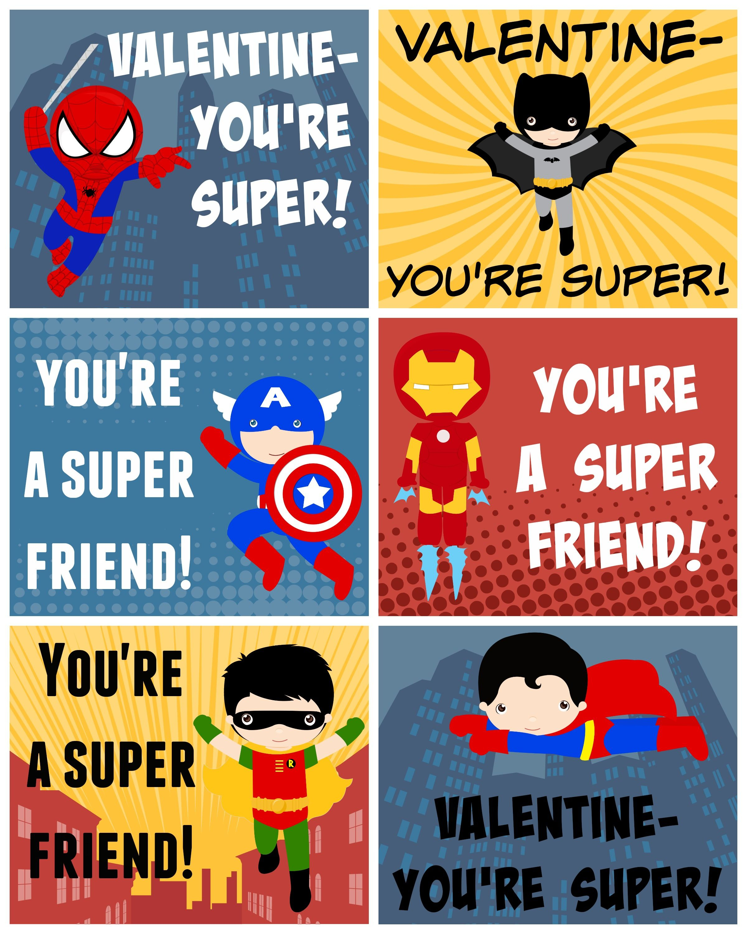 Free Printable Superhero Valentines - Free Printable Superman Valentine Cards