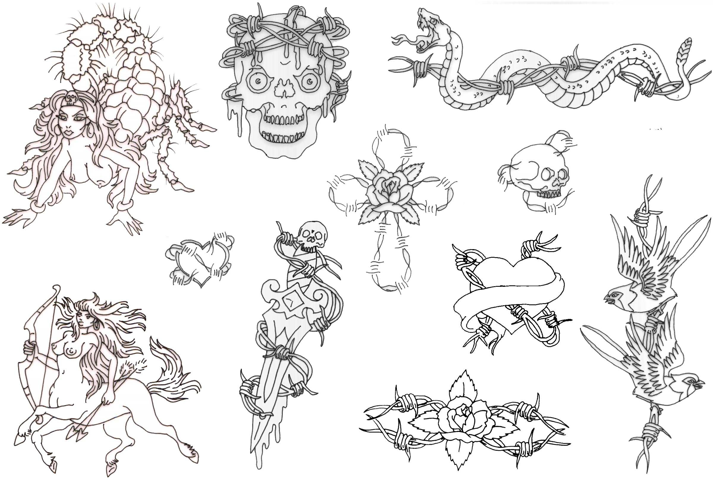 Free Printable Tattoo Flash | Album: Misc Flash Sheets Records 761 - Free Tattoo Stencils Printable