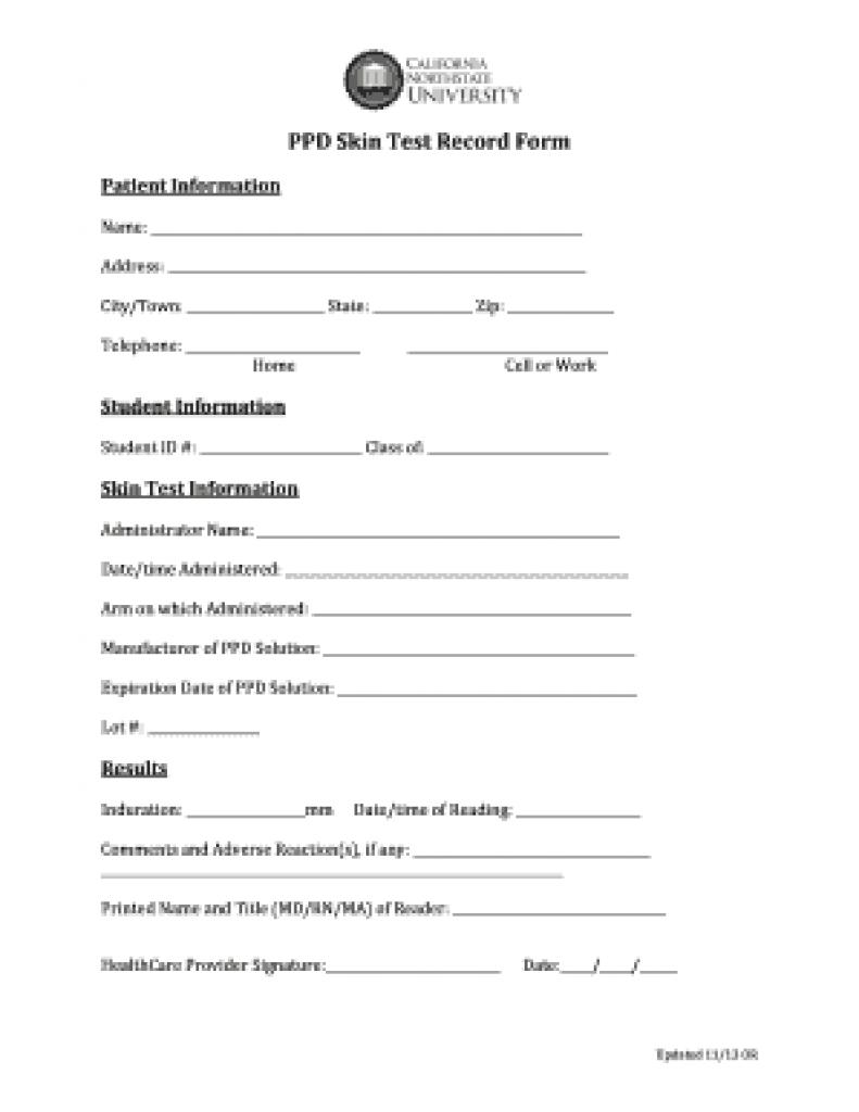 Free Printable Tb Test Form | Free Printable - Free Printable Tb Test Form