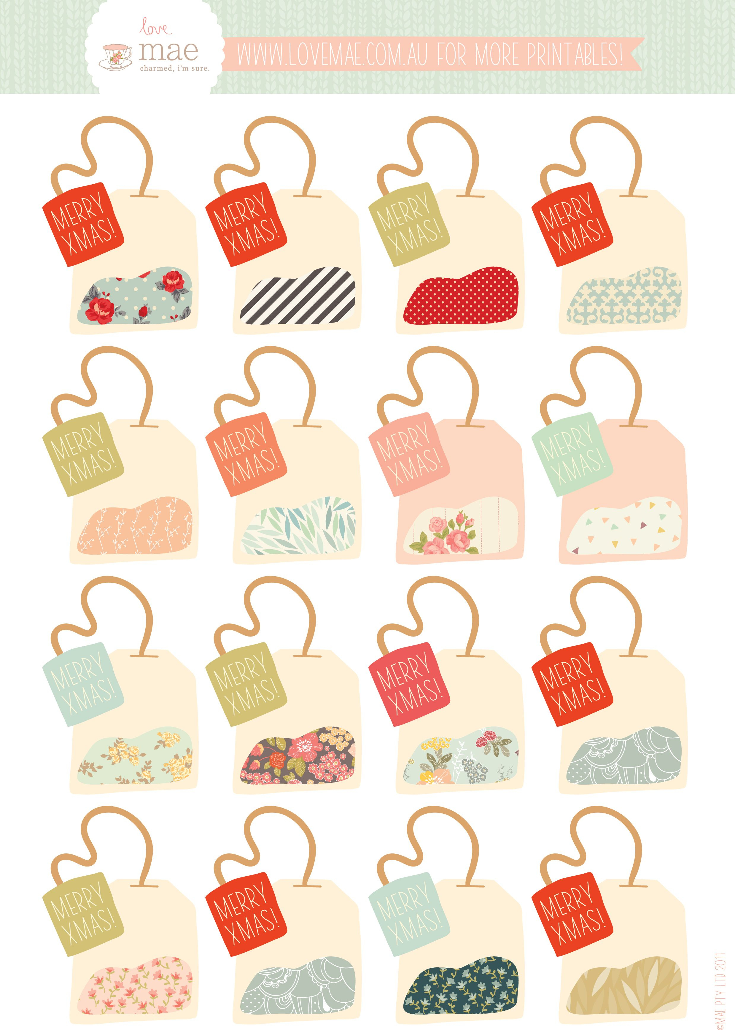 Free Printable Tea Bag Gift Tags (If Only It Didn't Say Xmas - Free Printable Gift Bag Tags