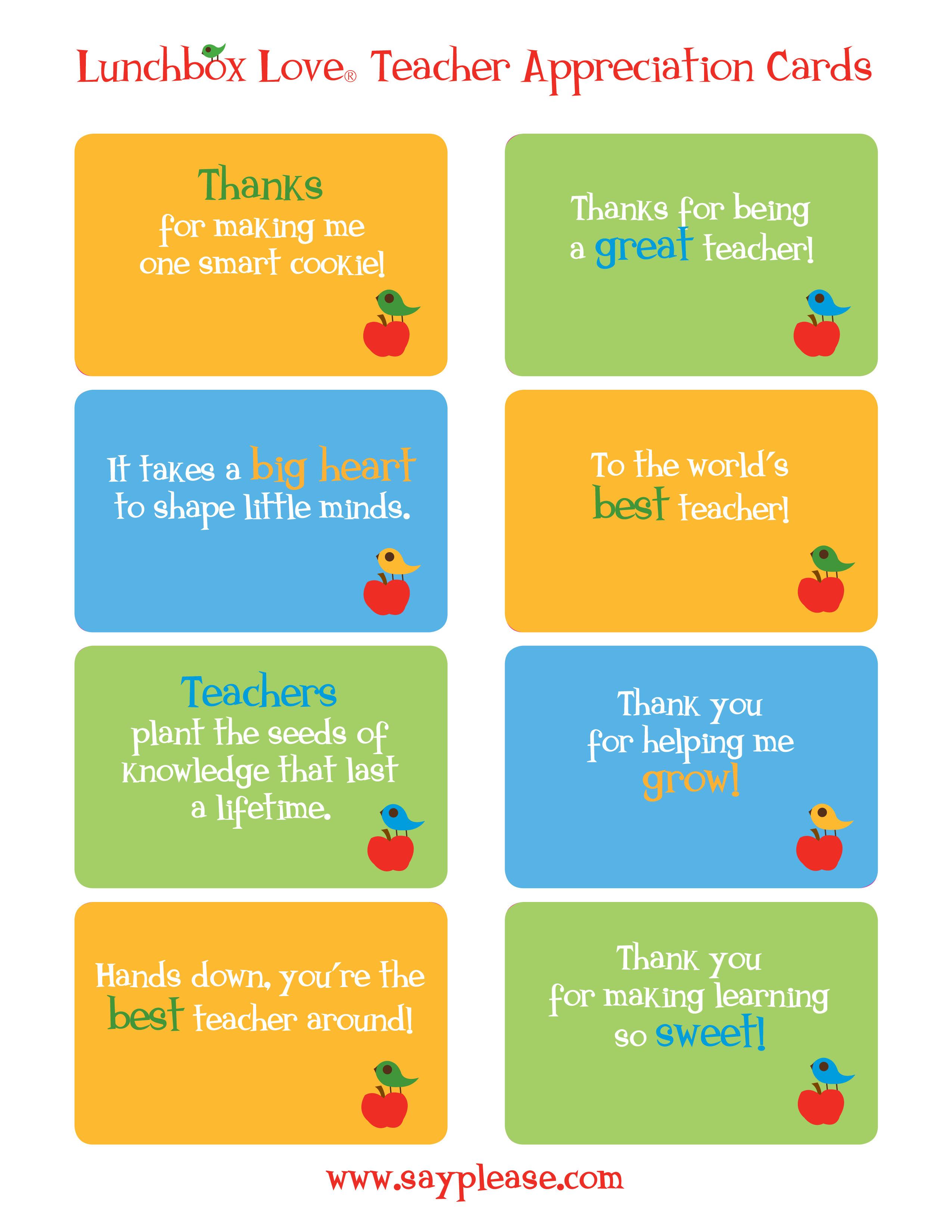 Free Printable Teacher Appreciation Cards To Say Thank You - Classy - Free Printable Teacher Appreciation Cards