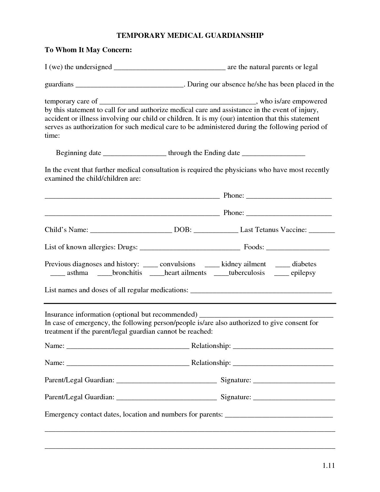 Free Printable Temporary Guardianship Forms   Forms - Free Printable Guardianship Forms