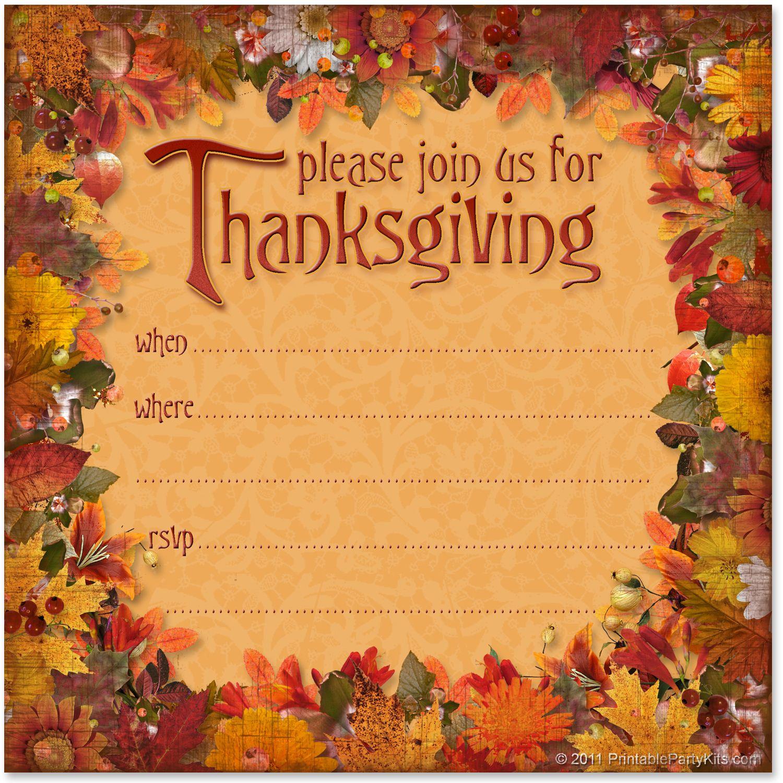 Free Printable Thanksgiving Dinner Invitation | Free Printable Party - Free Printable Thanksgiving Invitation Templates