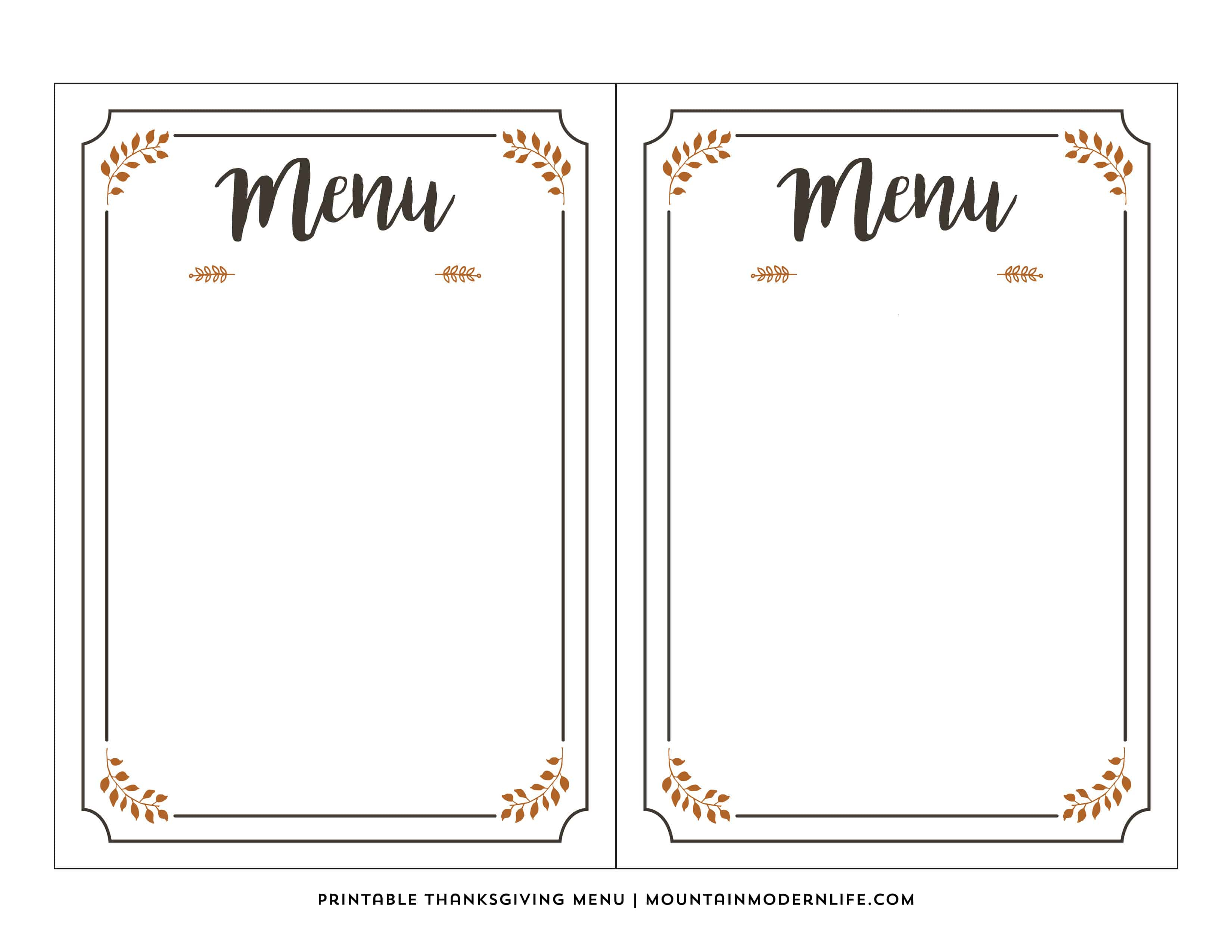 Free Printable Thanksgiving Menu | Mountainmodernlife - Free Printable Menu