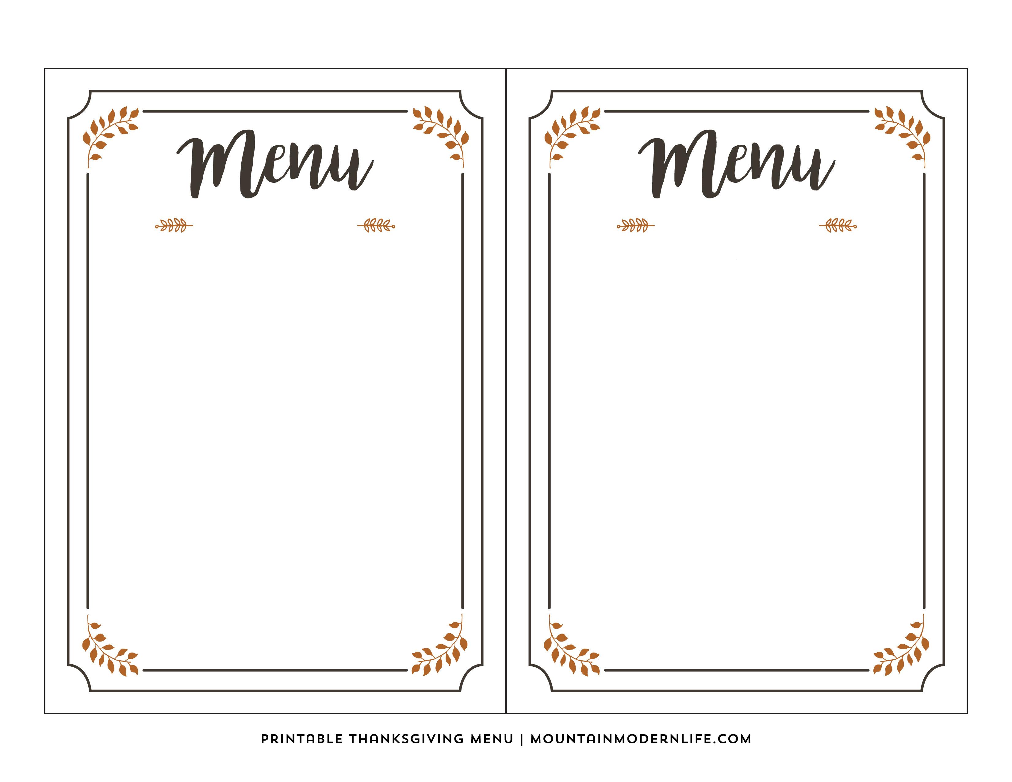 Free Printable Thanksgiving Menu | Mountainmodernlife - Free Printable Thanksgiving Menu Template
