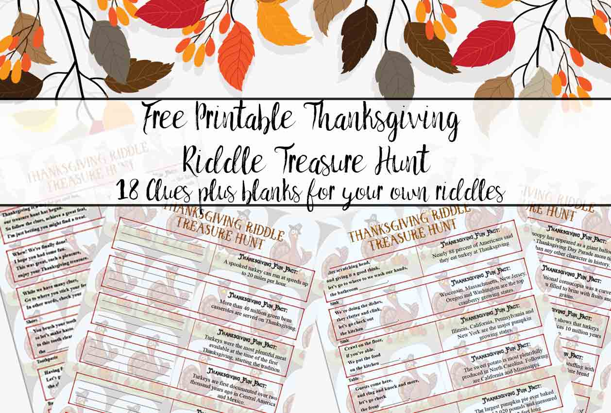 Free Printable Thanksgiving Riddle Treasure Hunt: 18 Mix-And-Match Clues - Free Printable Sud