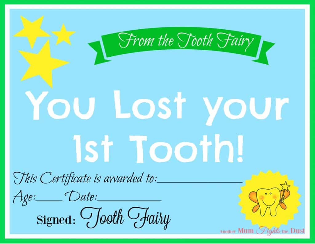Free Printable Tooth Fairy Certificate - Another Mum Fights The Dust - Free Printable Tooth Fairy Pictures