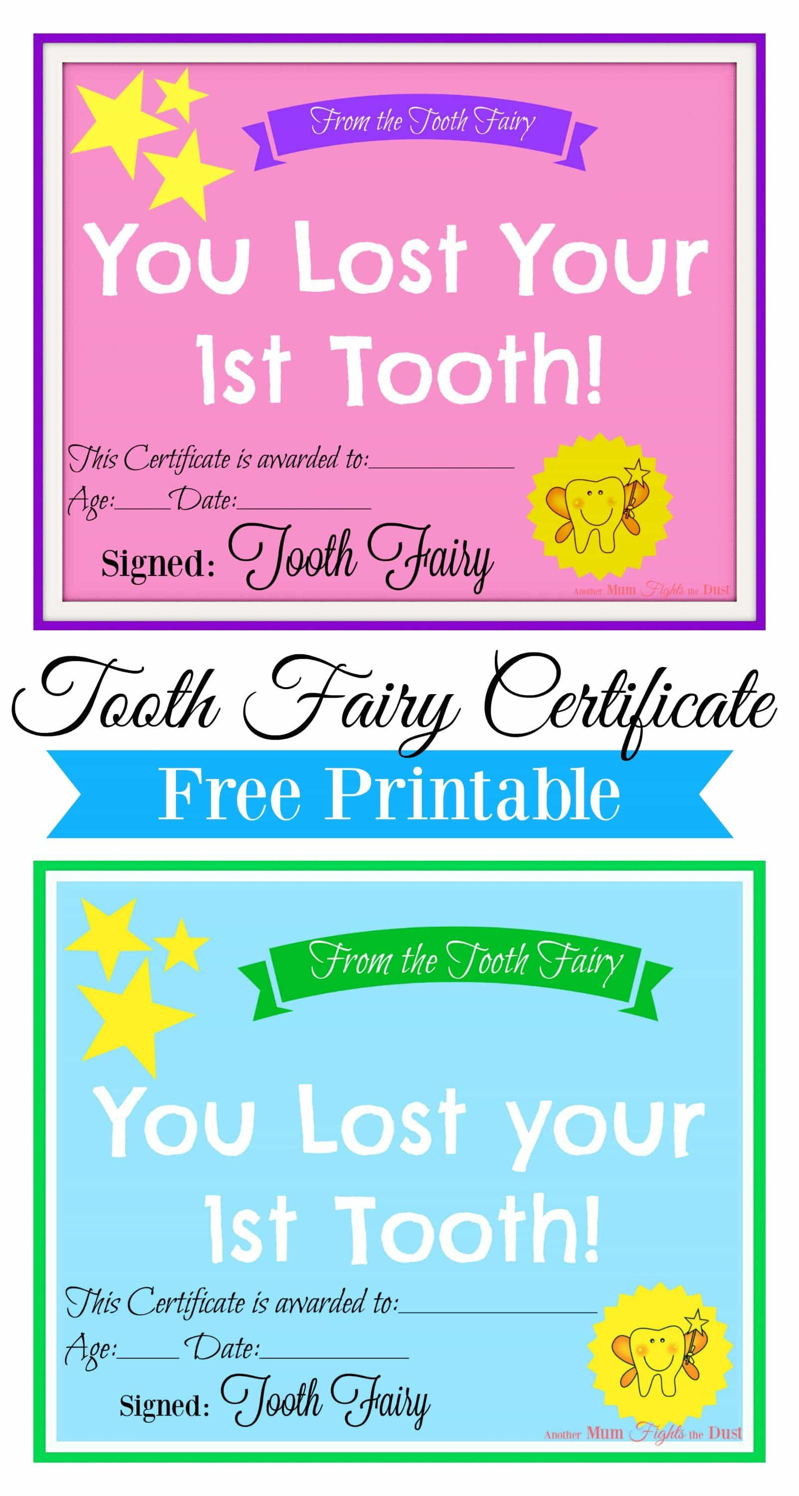 Free Printable Tooth Fairy Certificate   Tooth Fairy Ideas   Tooth - Free Printable First Lost Tooth Certificate