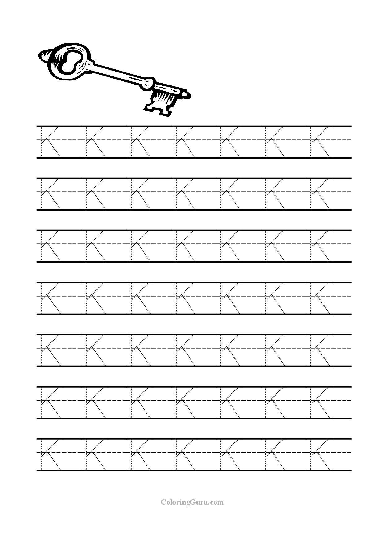 Free Printable Tracing Letter K Worksheets For Preschool   Kids - Free Printable Letter K Worksheets