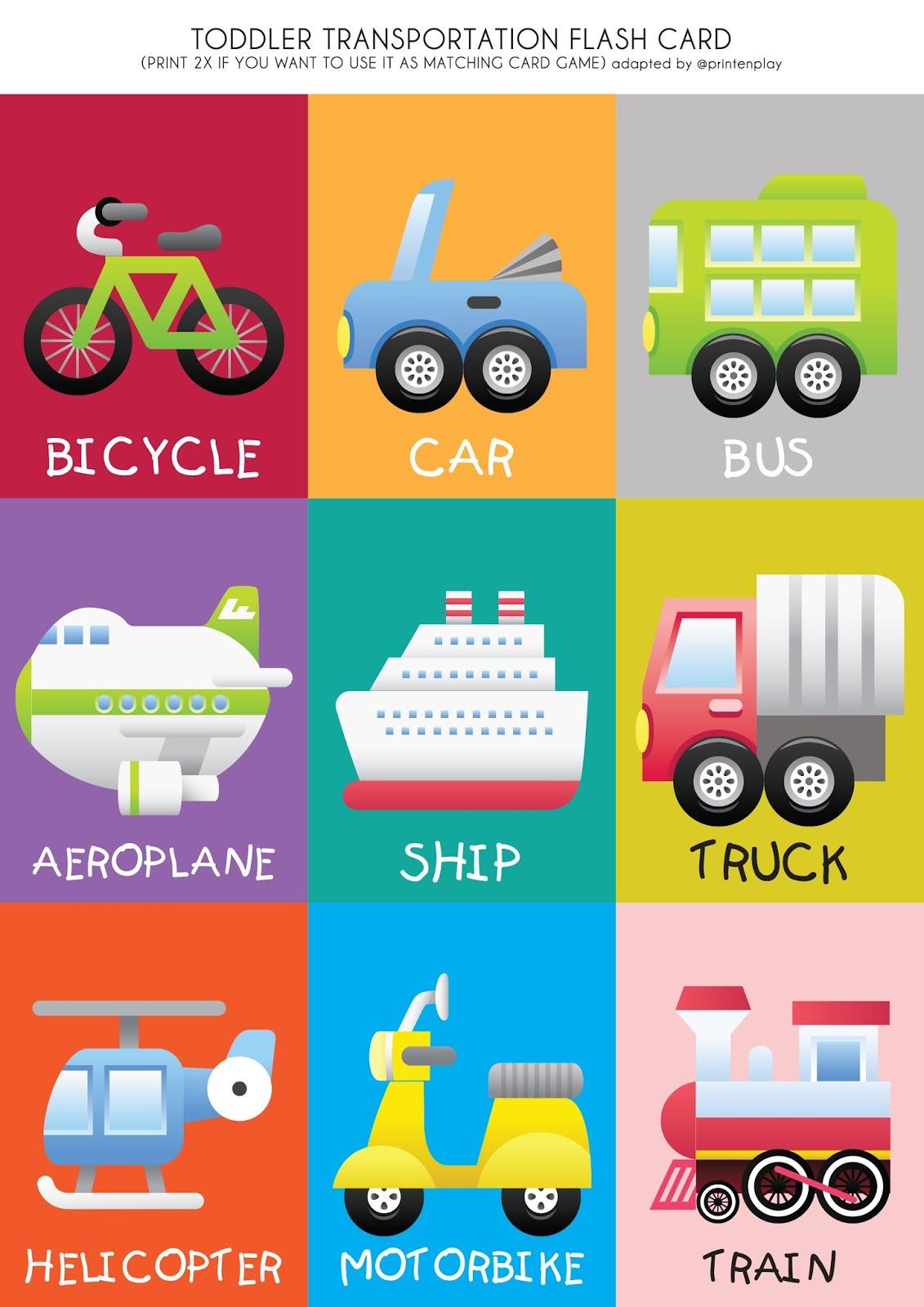 Free Printable - Transport Theme Flash Card   Print En Play - Free Printable Flash Cards