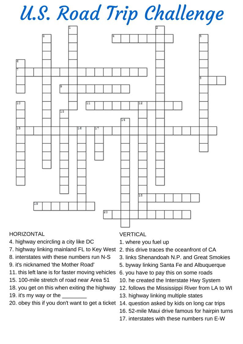 Free Printable Travel Games For Kids - Free Printable Crosswords Usa Today