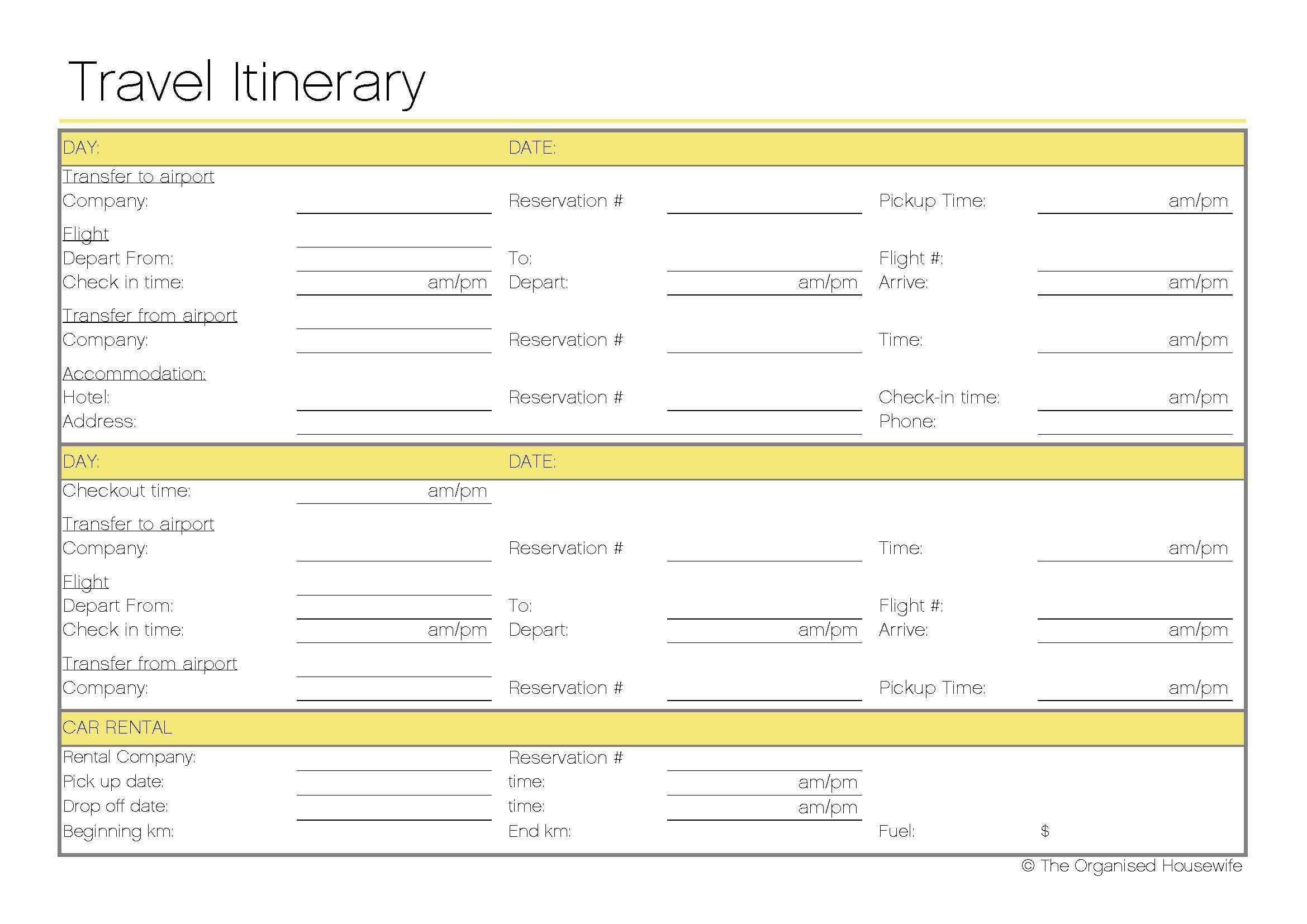 Free Printable - Travel Itinerary | Itineraries, Etc. | Pinterest - Free Printable Itinerary