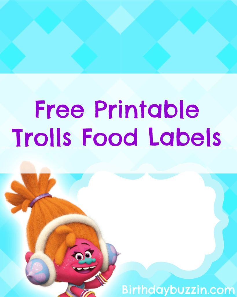 Free Printable Trolls Food Labels | Harper Bday | Pinterest | Trolls - Free Printable Trolls