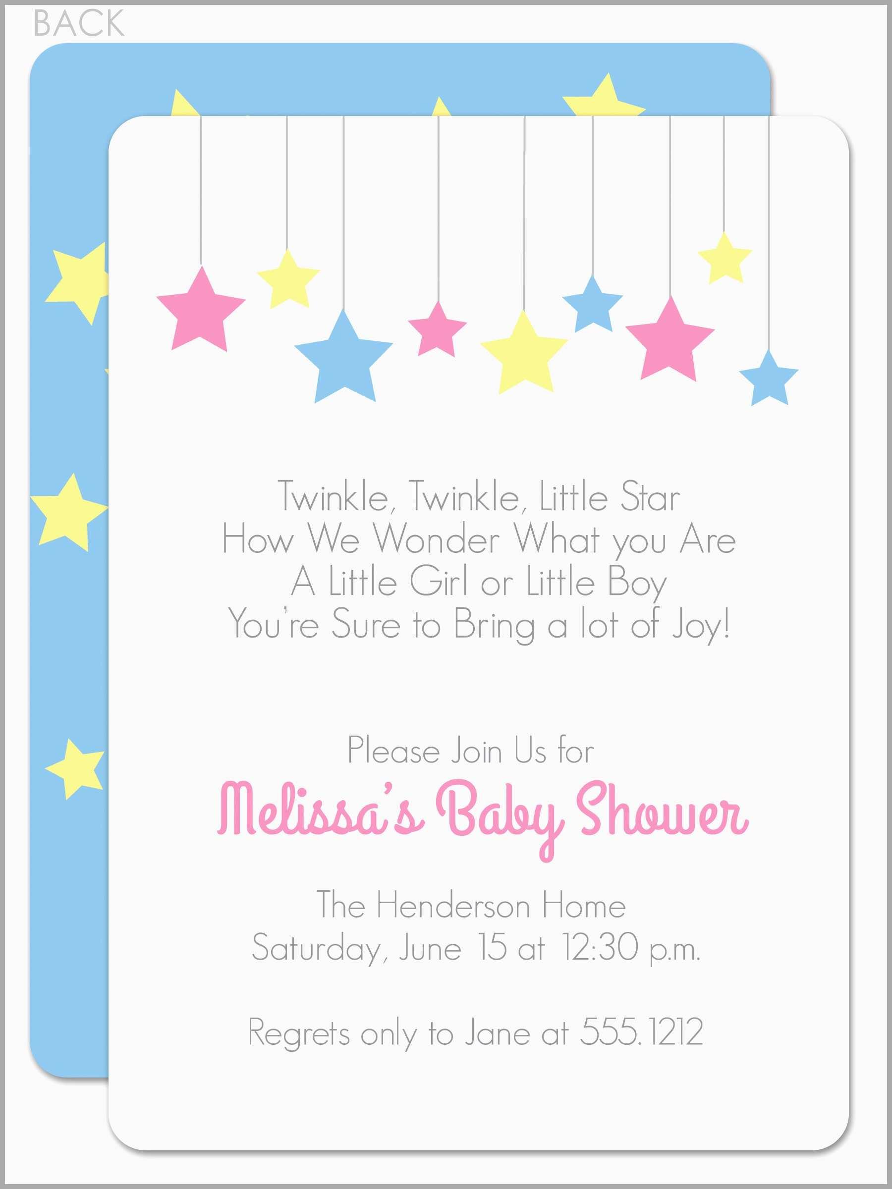 Free Printable Twinkle Twinkle Little Star Baby Shower Invitations - Free Printable Twinkle Twinkle Little Star Baby Shower Invitations