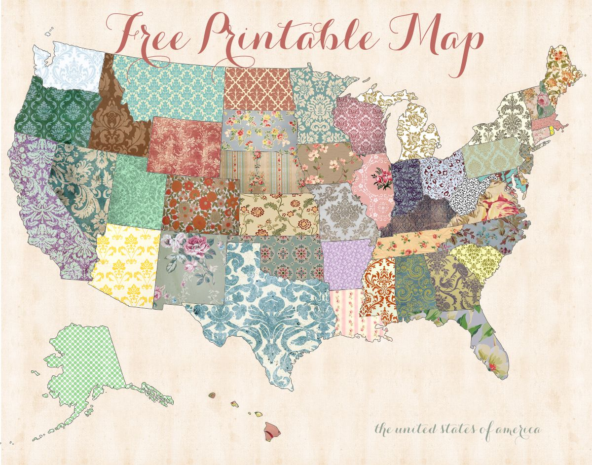 Free Printable Usa Map | Just Cuz | Pinterest | Ideias, Retalhos - Free Printable Usa Map