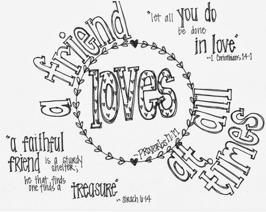 "Free Printable Valentine's Coloring Page With Bible Verses- ""a - Free Printable Bff Coloring Pages"