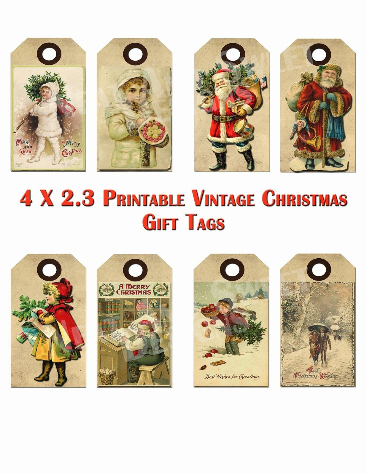 Free Printable Vintage Christmas Tags - Google Search | Craft Ideas - Free Printable Vintage Christmas Clip Art