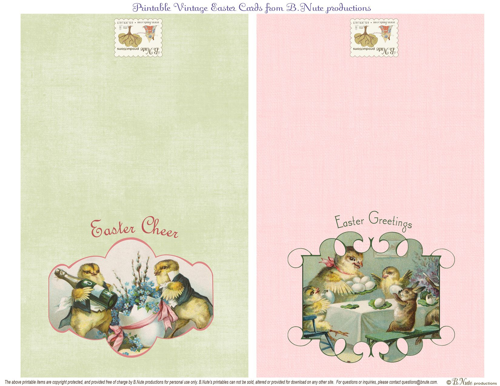 Free Printable Vintage Easter Folded Cards. I Finally Found These - Free Printable Easter Greeting Cards