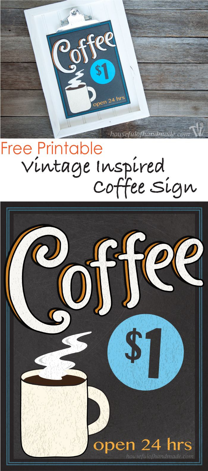 Free Printable Vintage Inspired Coffee Sign | Fonts & Printables - Free Printable Coffee Bar Signs