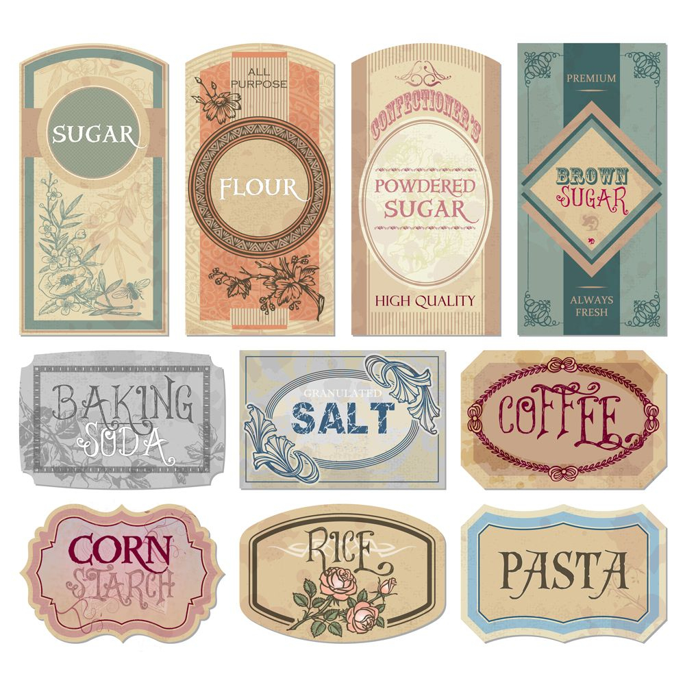 Free Printable Vintage Labels For Jars And Canisters To Organize - Free Printable Vintage Pictures