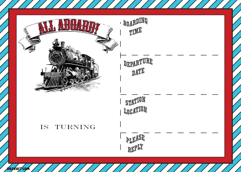 Free Printable Vintage Train Ticket Invitation   Free Printable - Free Printable Train Pictures