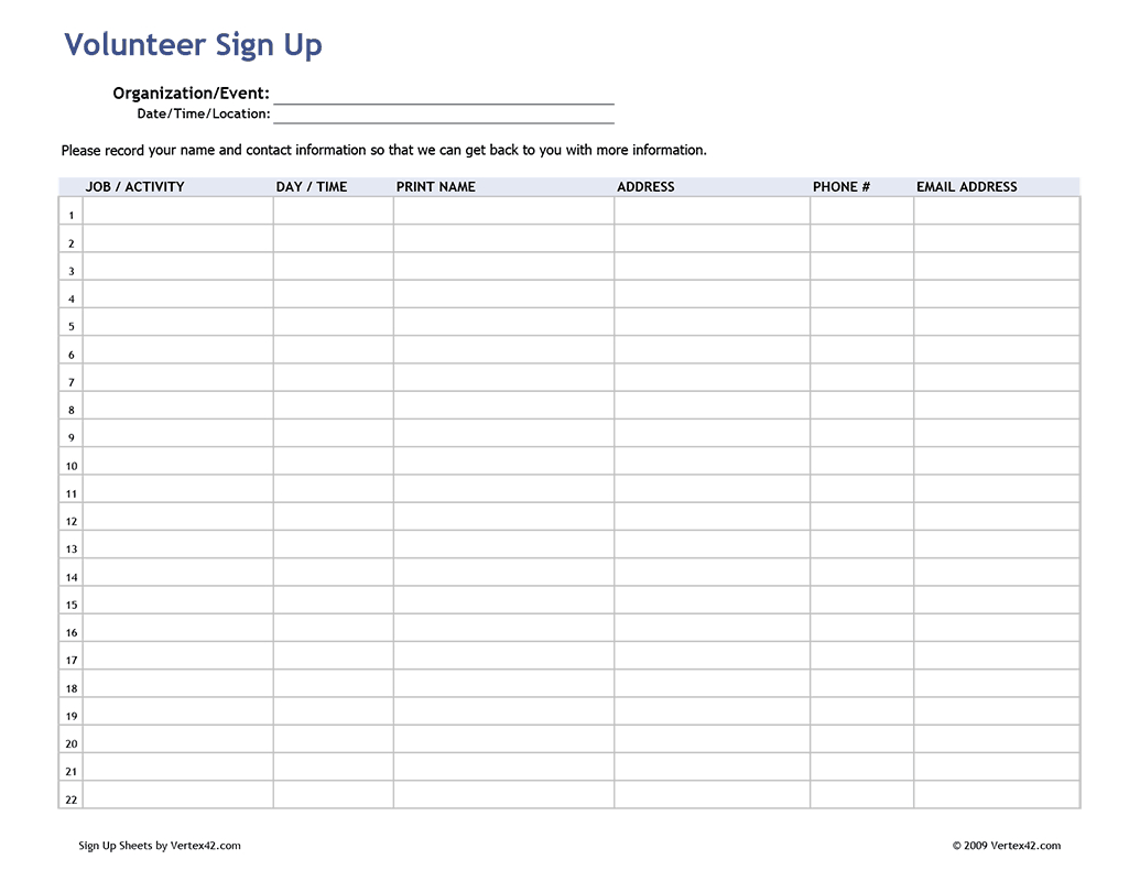 Free Printable Volunteer Sign Up Sheet (Pdf) From Vertex42 - Free Printable Sign Up Sheet