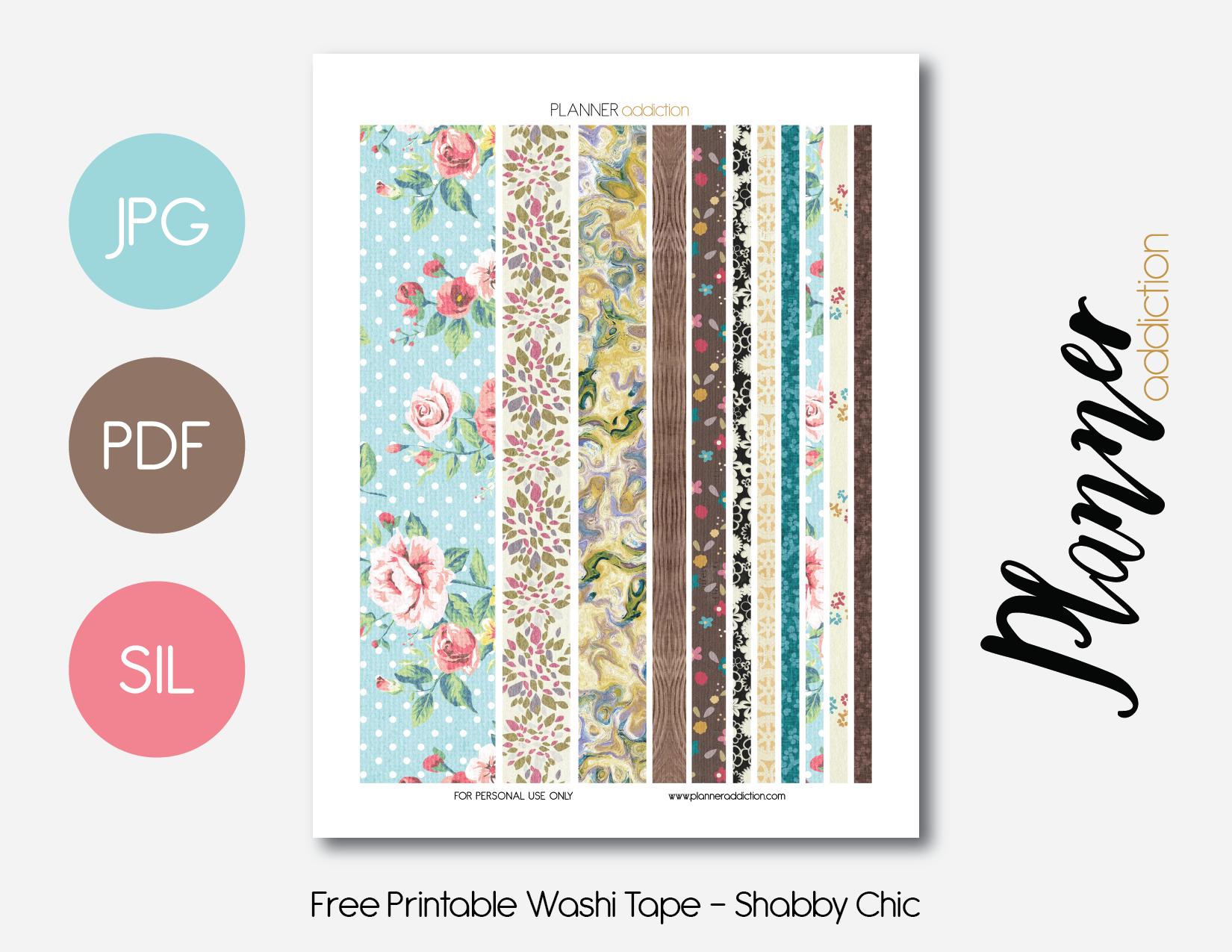 Free Printable Washi Tape – Planner Addiction - Free Printable Washi Tape