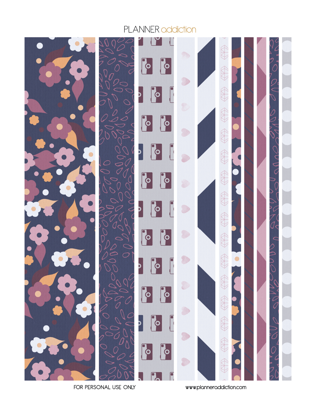 Free Printable Washi Tape - Purple Blue Floral   Crafty Ideas - Free Printable Washi Tape