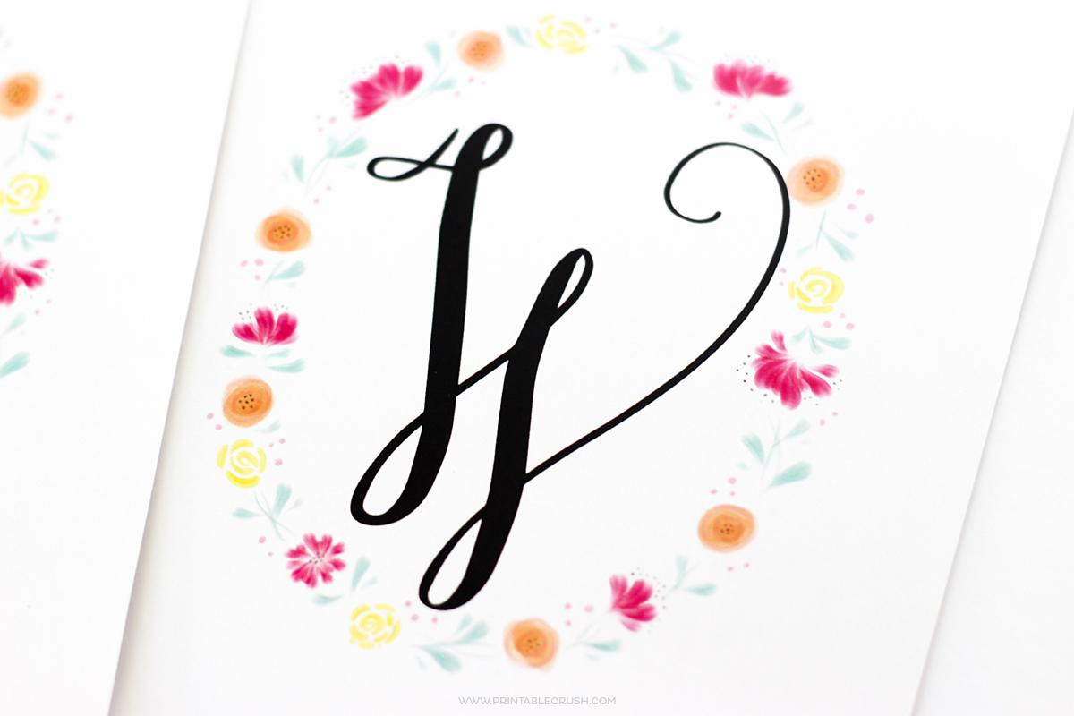 Free Printable Watercolor Monogram Wreaths - Printable Crush - Free Printable Monogram