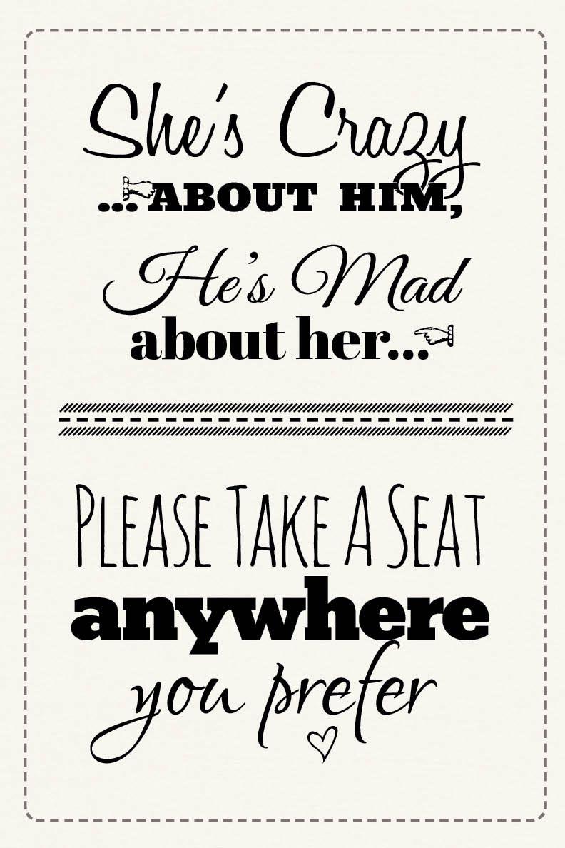 Free Printable Wedding Download: Pick A Seat Sign | Dream Come True - Free Printable Wedding Sparkler Sign