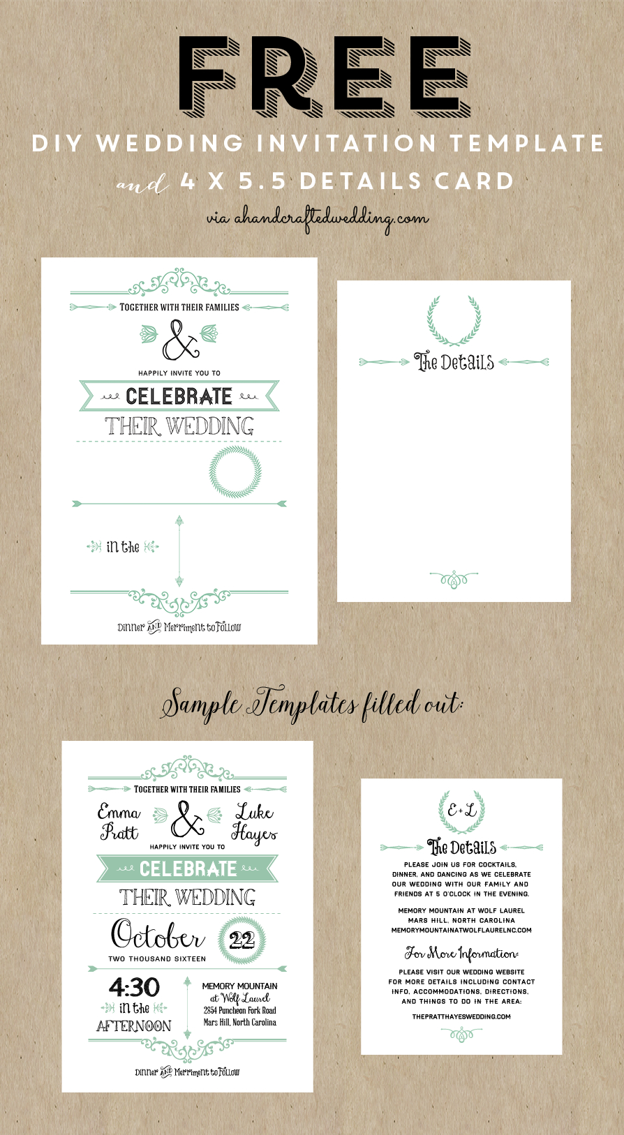 Free Printable Wedding Invitation Template | Wedding | Pinterest - Free Printable Wedding Invitation Templates