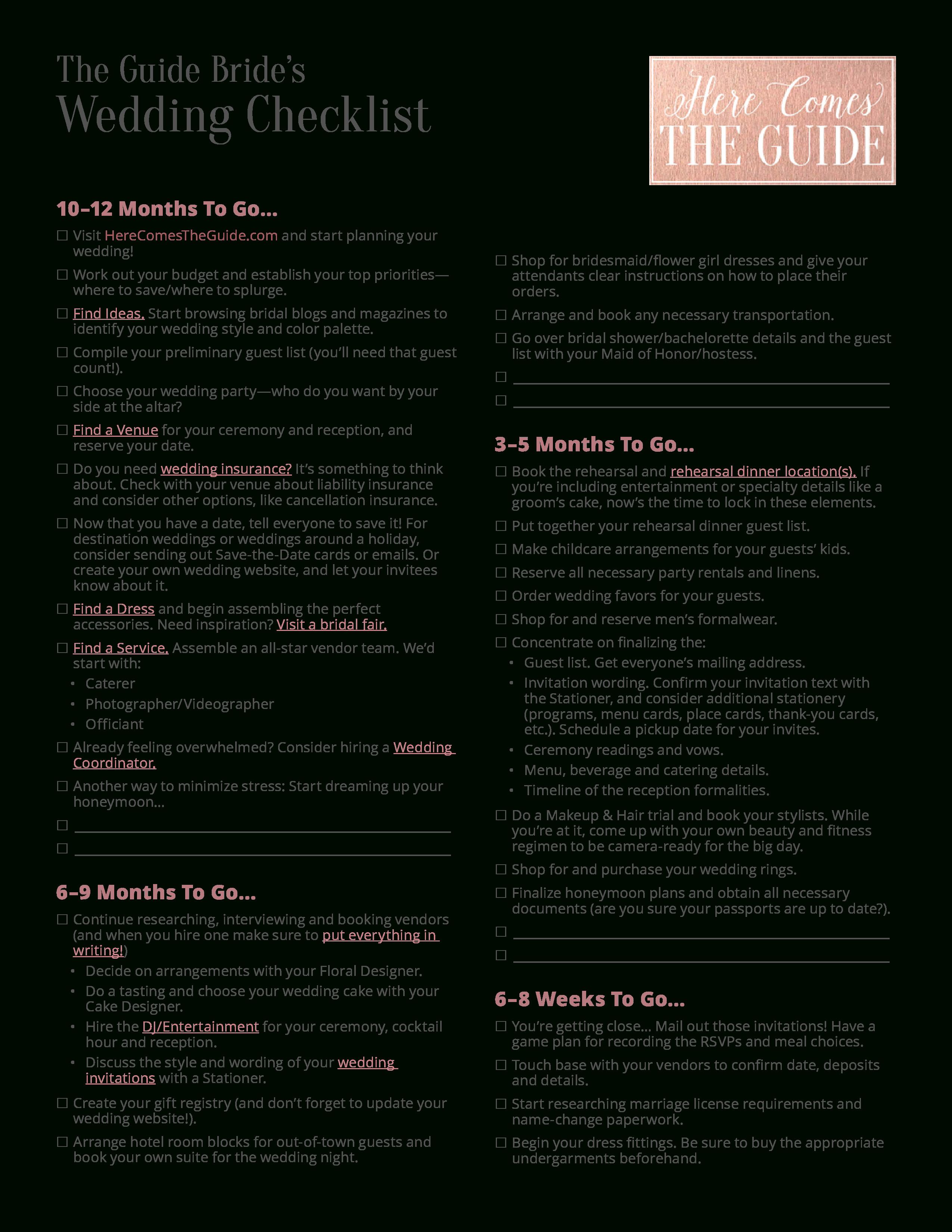 Free Printable Wedding Party Checklist | Templates At - Free Printable Wedding Party List