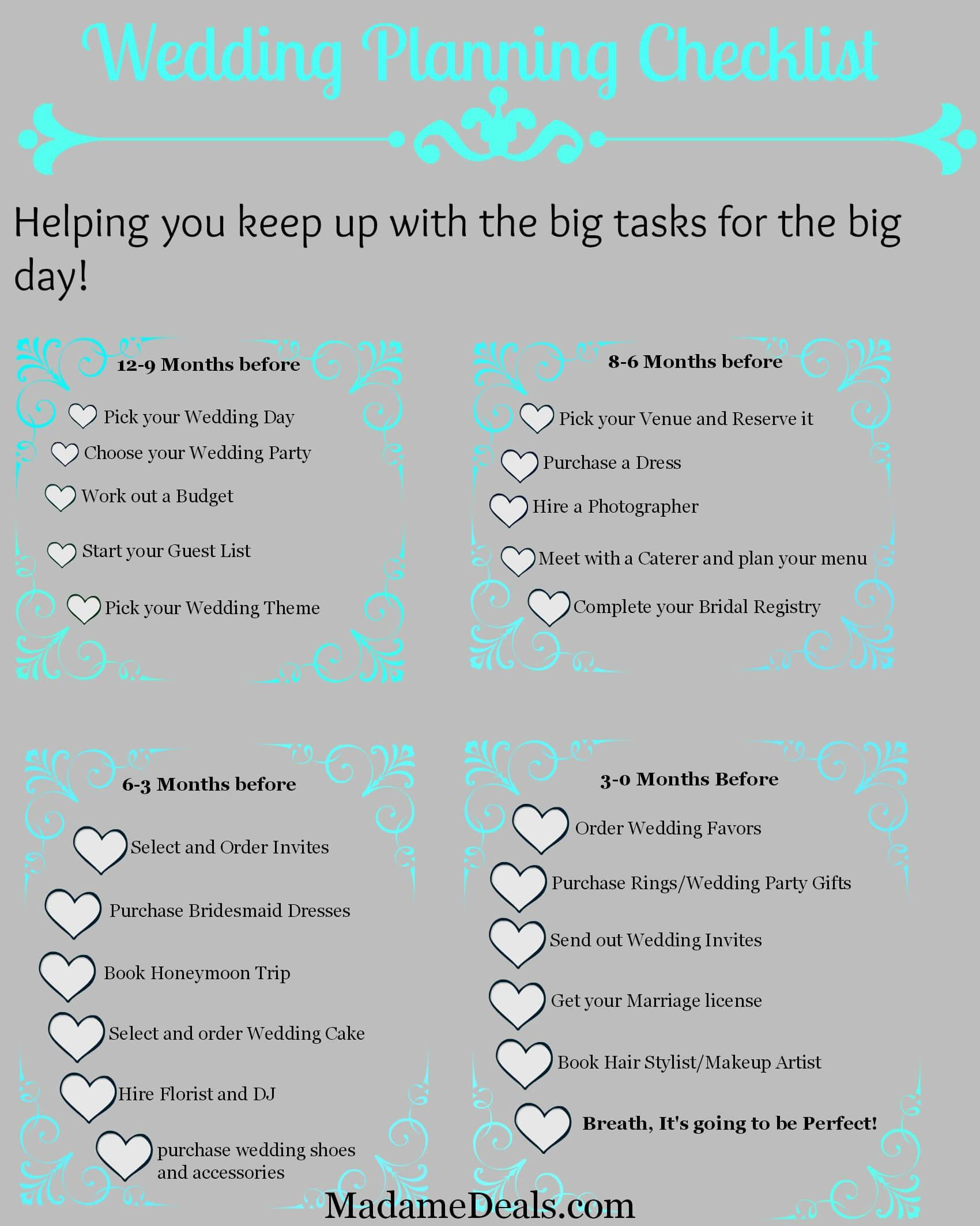 Free Printable Wedding Planning Checklist - Real Advice Gal - Free Printable Wedding Checklist