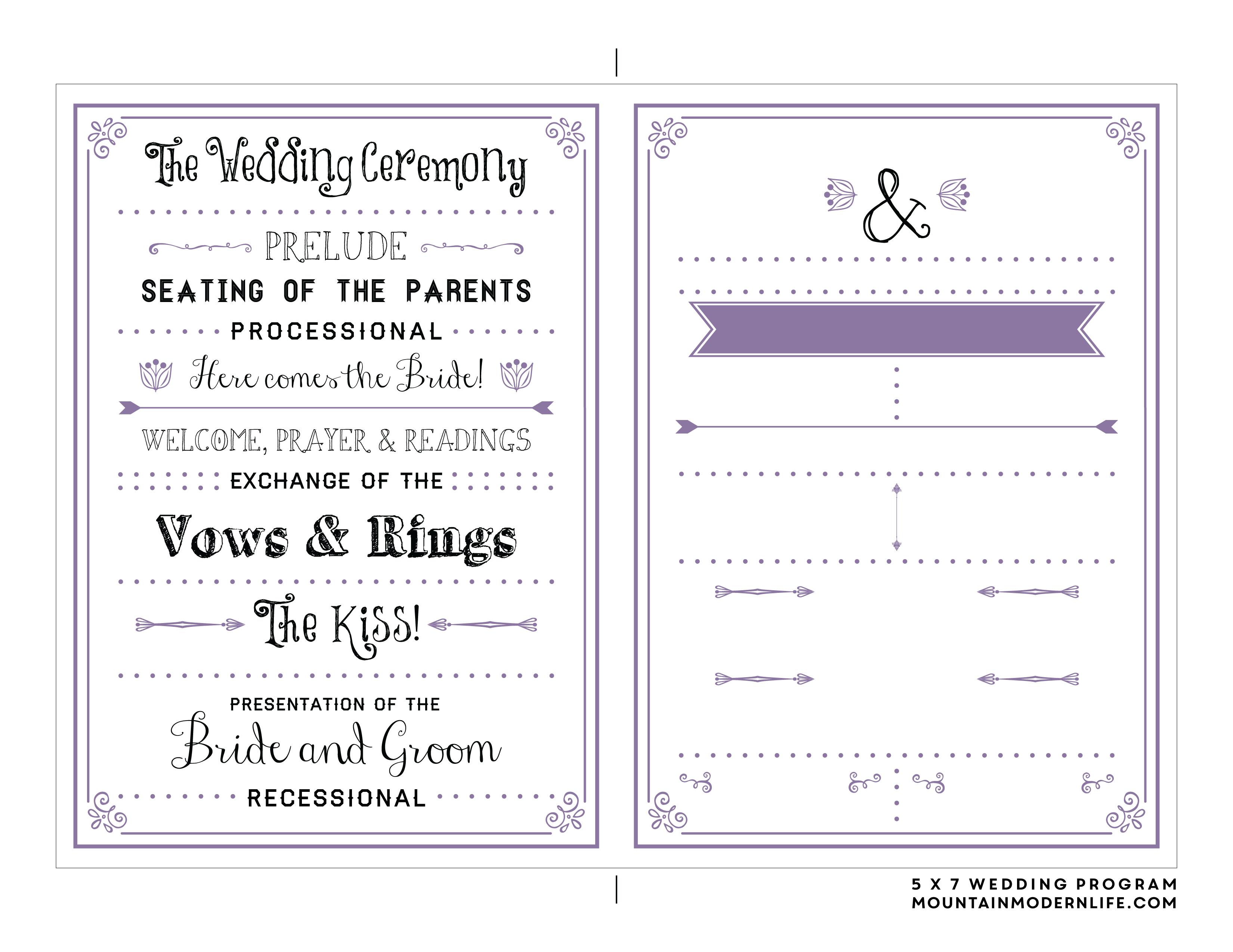 Free Printable Wedding Program | Mountainmodernlife - Free Printable Wedding Program Templates